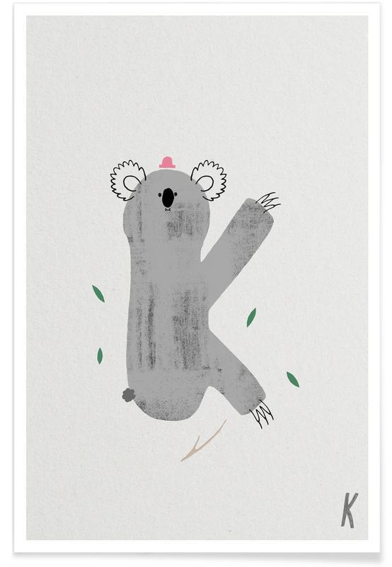 Art pour enfants, Alphabet et lettres, Koalas, K - Alphabet des animaux affiche