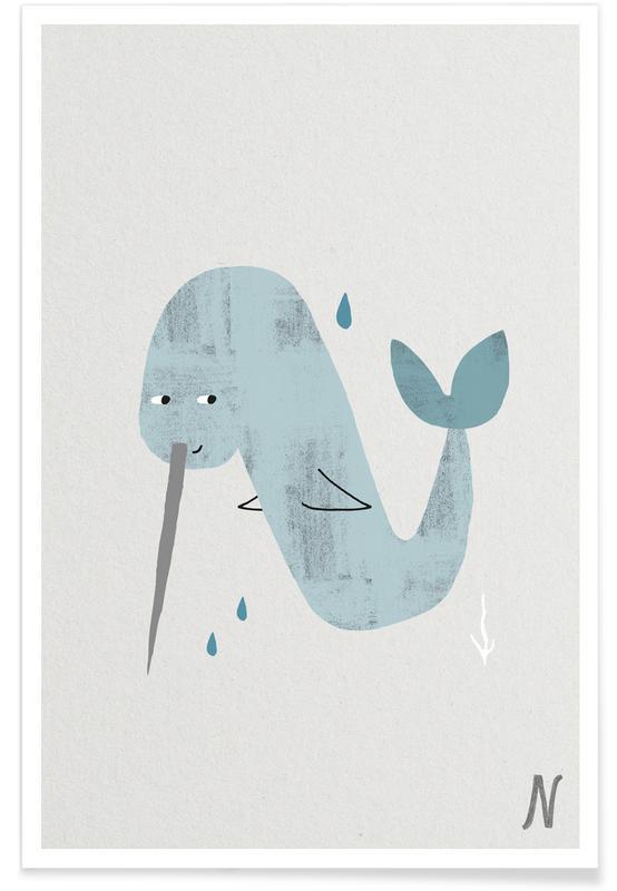Art pour enfants, Alphabet et lettres, Baleines, N - Alphabet des animaux affiche