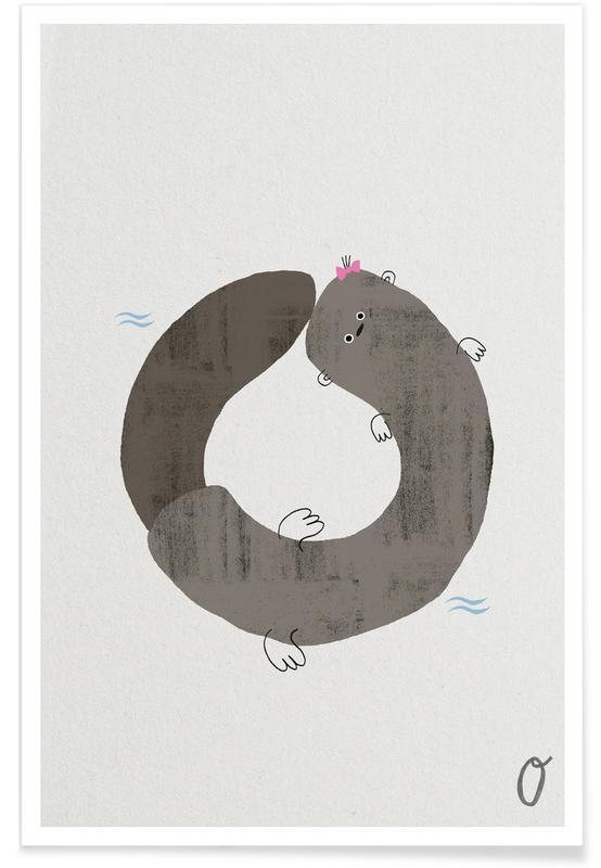 Kunst voor kinderen, Otters, Alfabet en letters, Dieren alfabet O poster