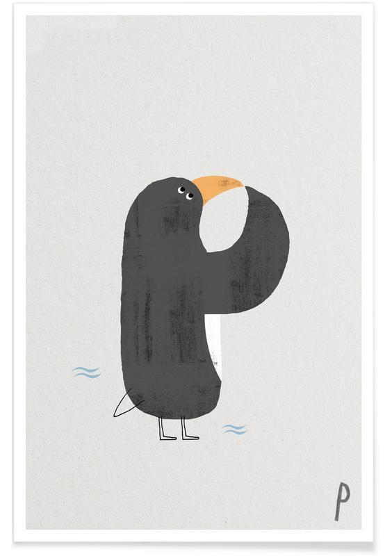Pinguïns, Kunst voor kinderen, Alfabet en letters, Dieren alfabet P poster