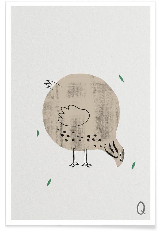 Art pour enfants, Alphabet et lettres, Méduses, Q - Alphabet des animaux affiche