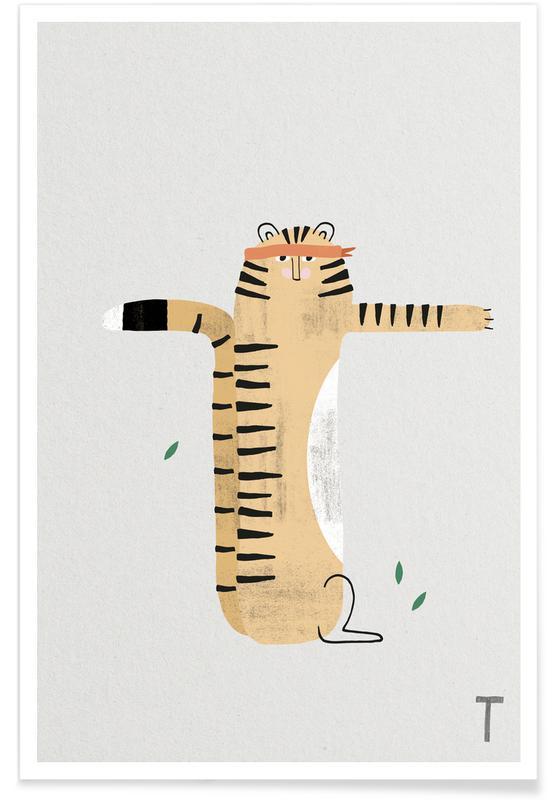 Tigres, Art pour enfants, Alphabet et lettres, T - Alphabet des animaux affiche