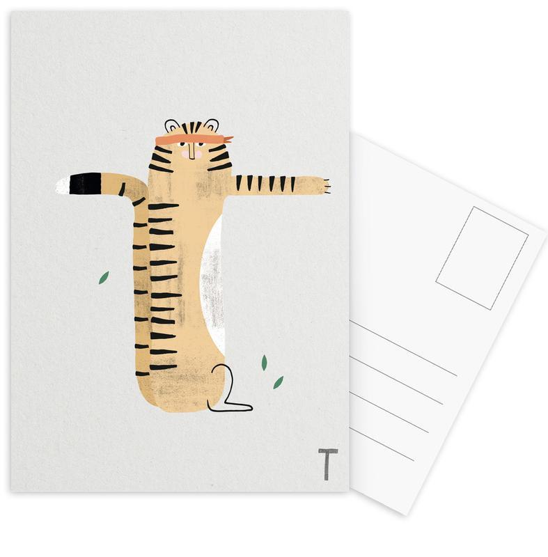 Alphabet & Buchstaben, Tiger, Kinderzimmer & Kunst für Kinder, ABC Kids - T -Postkartenset