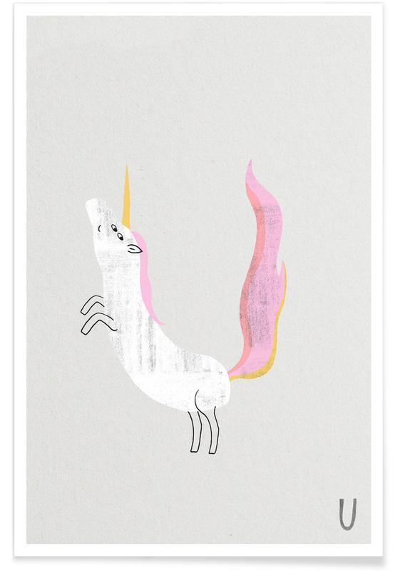 Barnkammar & konst för barn, Enhörningar, Alfabetet & bokstäver, Animal Alphabet Unicorn Poster