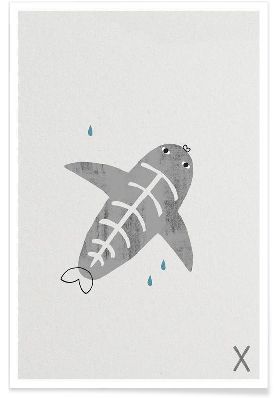 Fische, Alphabet & Buchstaben, Kinderzimmer & Kunst für Kinder, Tier-Alphabet X -Poster