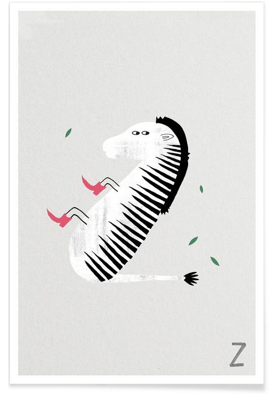 Zèbres, Art pour enfants, Alphabet et lettres, Z - Alphabet des animaux affiche