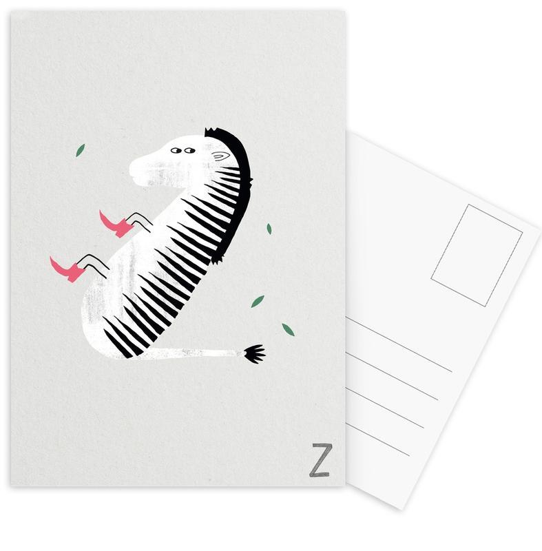Zebras, Alphabet & Buchstaben, Kinderzimmer & Kunst für Kinder, ABC Kids - Z -Postkartenset