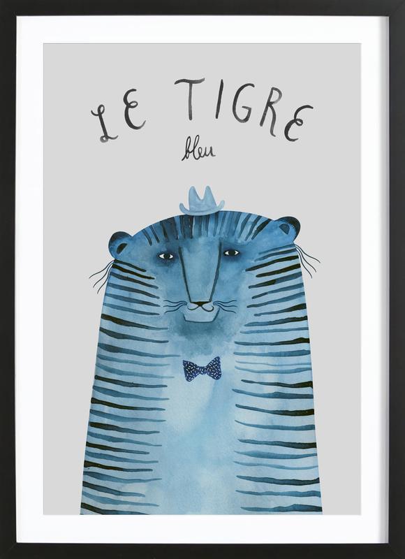French Animals Tigre -Bild mit Holzrahmen