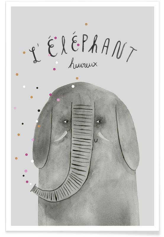 Éléphants, Art pour enfants, French Animals Elefant affiche