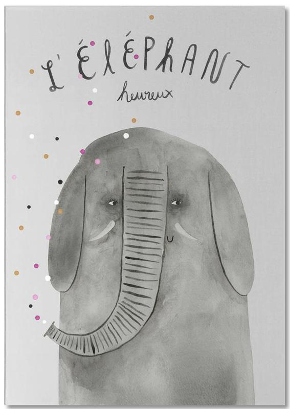 French Animals Elefant -Notizblock