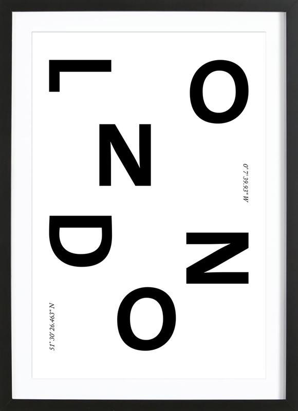 Cities - London affiche sous cadre en bois