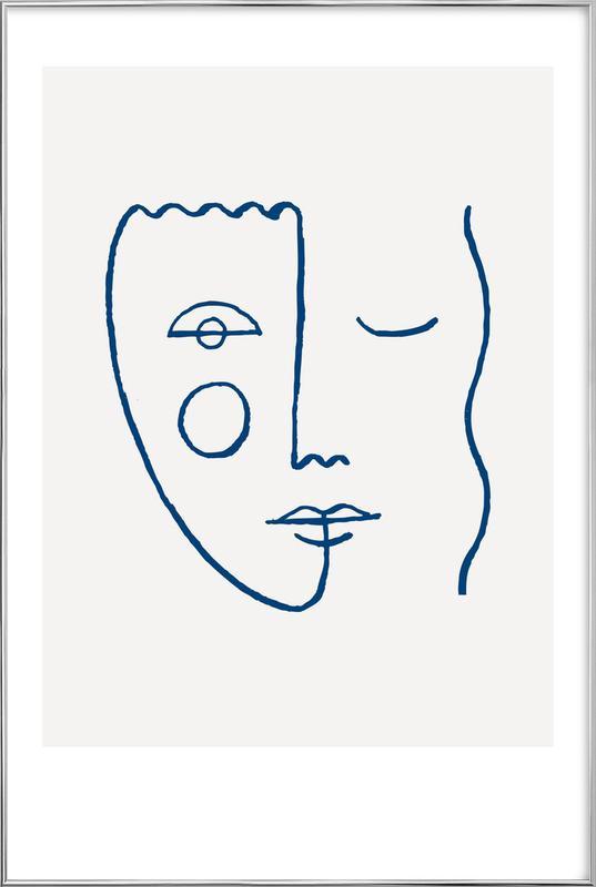 Faces No. 2 Poster in Aluminium Frame