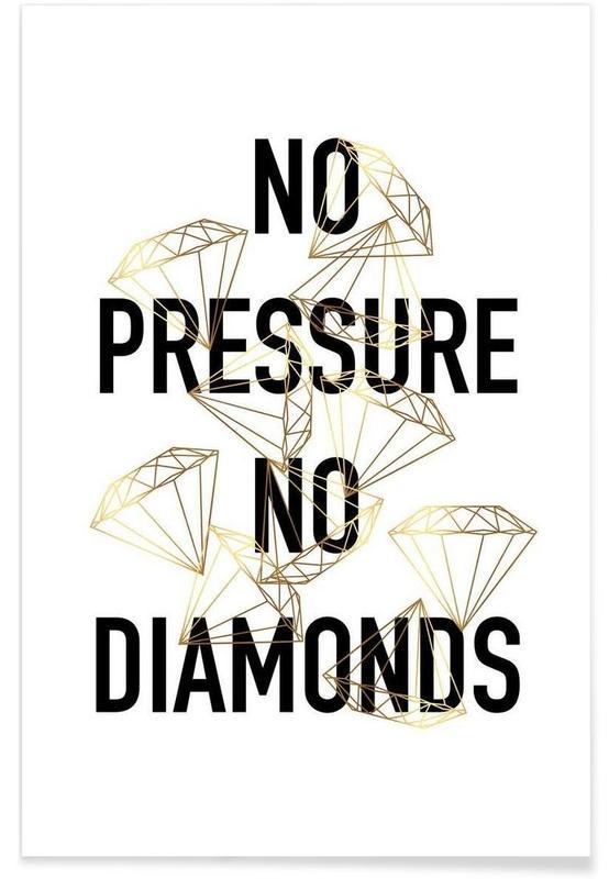 Citat & slagord, Bröllop, Svart & vit, No Pressure Poster