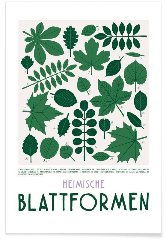 Bladeren en planten, Blattformen poster