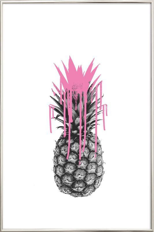 Pink Ananas Poster in Aluminium Frame