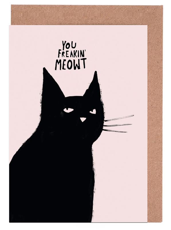 Katzen, Lustig, Freaking -Grußkarten-Set