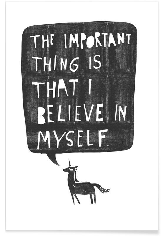 Humour, Noir & blanc, Citations et slogans, Motivation, Licornes, Believe affiche