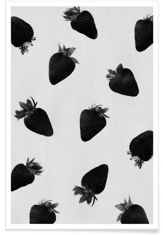 Sort & hvidt, Jordbær, Black Strawberries Plakat