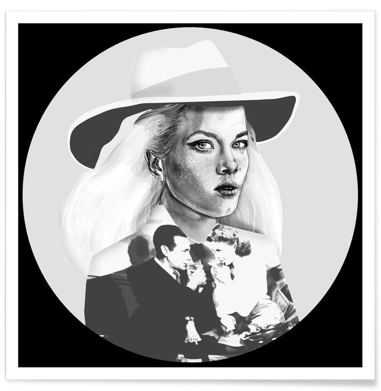 Schwarz & Weiß, Modeillustration, Casablanca -Poster