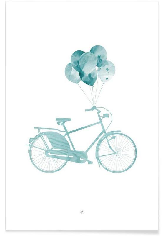 Bicycles, Bike & Balloons | Blue Poster