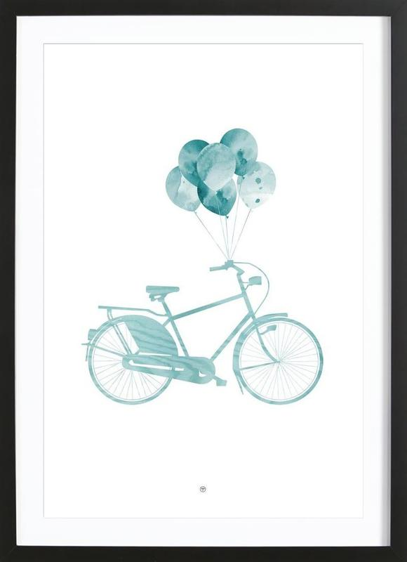 Bike & Balloons | Blue Framed Print