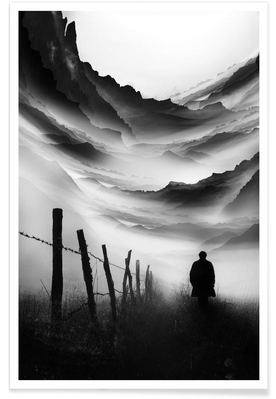 Abstract Landscapes, Black & White, Going Nowhere Poster