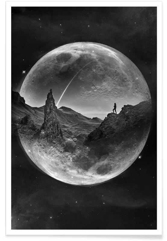 Moon, Black & White, Moon Glow Poster