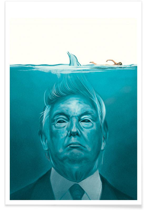 Film, Humor, Politiske figurer, Trump Flat Swimmer Plakat