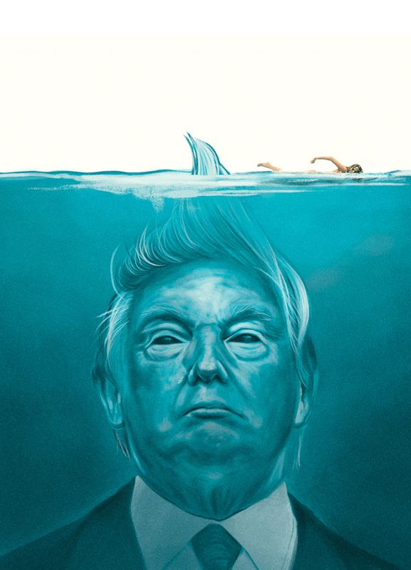 Trump Flat Swimmer Canvas Print