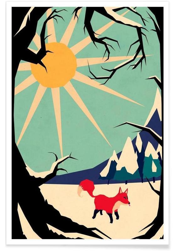 Art pour enfants, Fox roaming around affiche