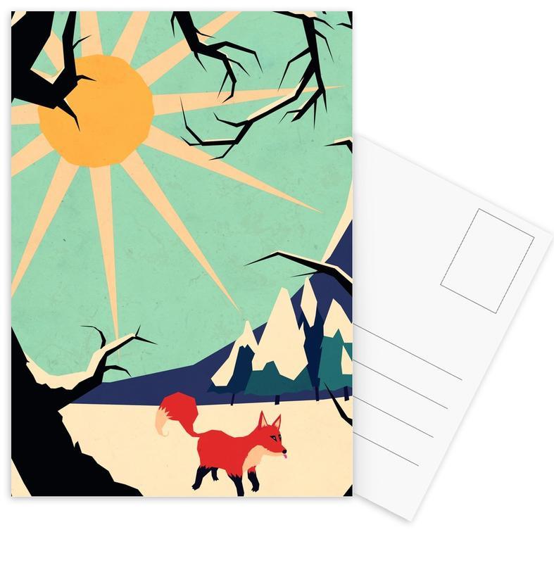 Kinderzimmer & Kunst für Kinder, Fox roaming around -Postkartenset