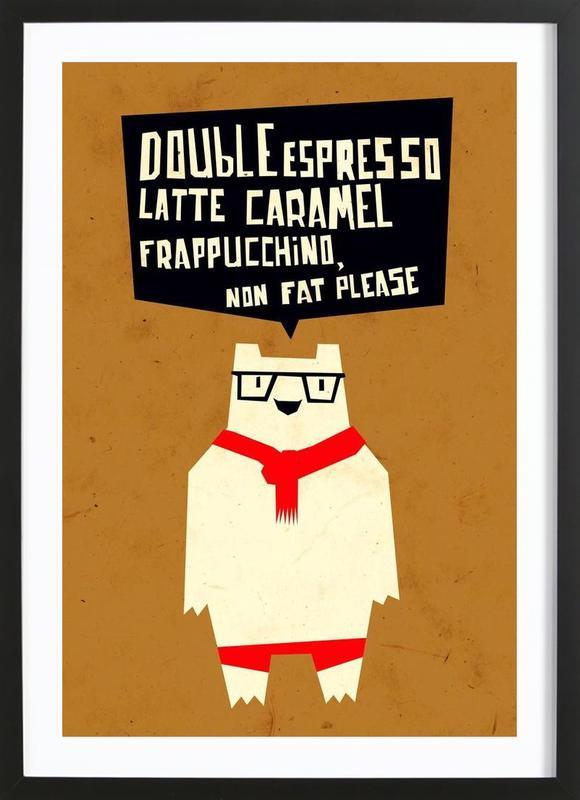 Yeti wants coffee -Bild mit Holzrahmen