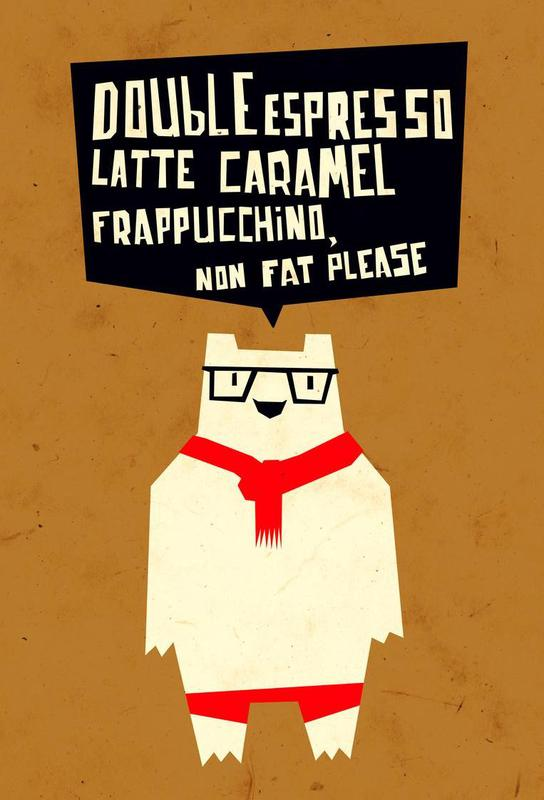 Yeti wants coffee -Acrylglasbild