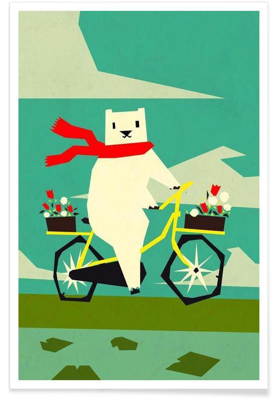 Yeti riding a bike Poster