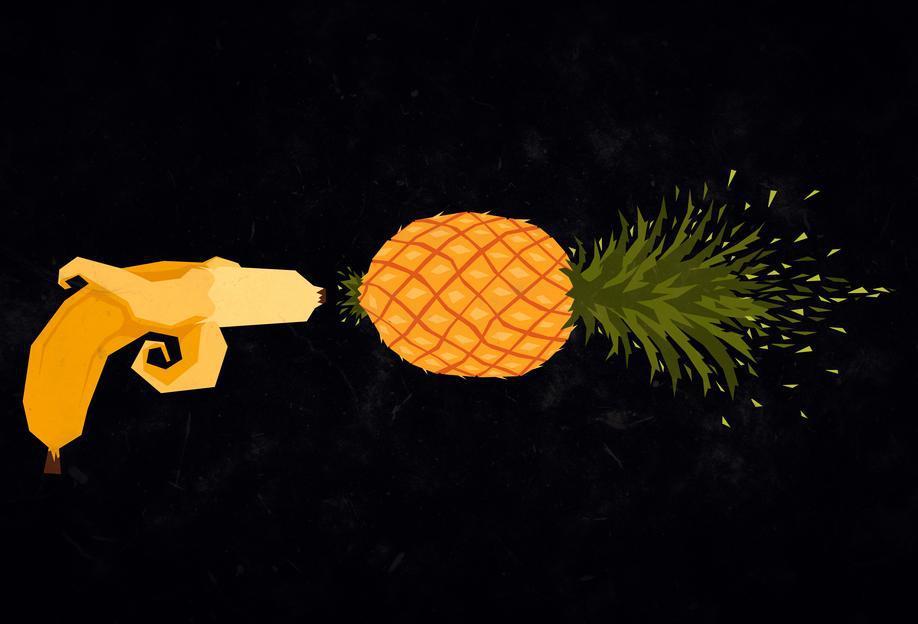 Who shot the pineapple -Acrylglasbild