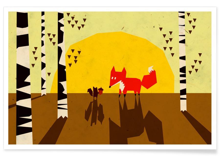 Art pour enfants, Renards, Ecureuils, For You affiche
