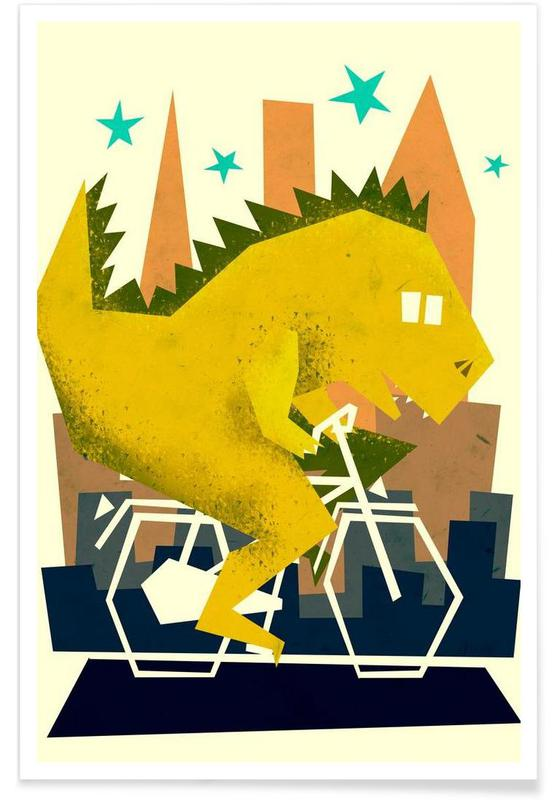Nursery & Art for Kids, Dinosaurs, Godzilla Going To Town Poster