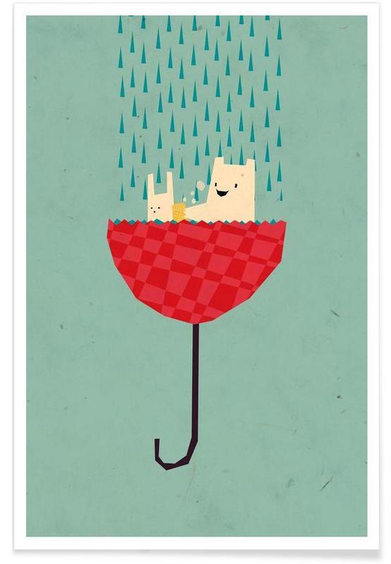 Kaninchen, Kinderzimmer & Kunst für Kinder, Bären, Umbrella bath time! -Poster