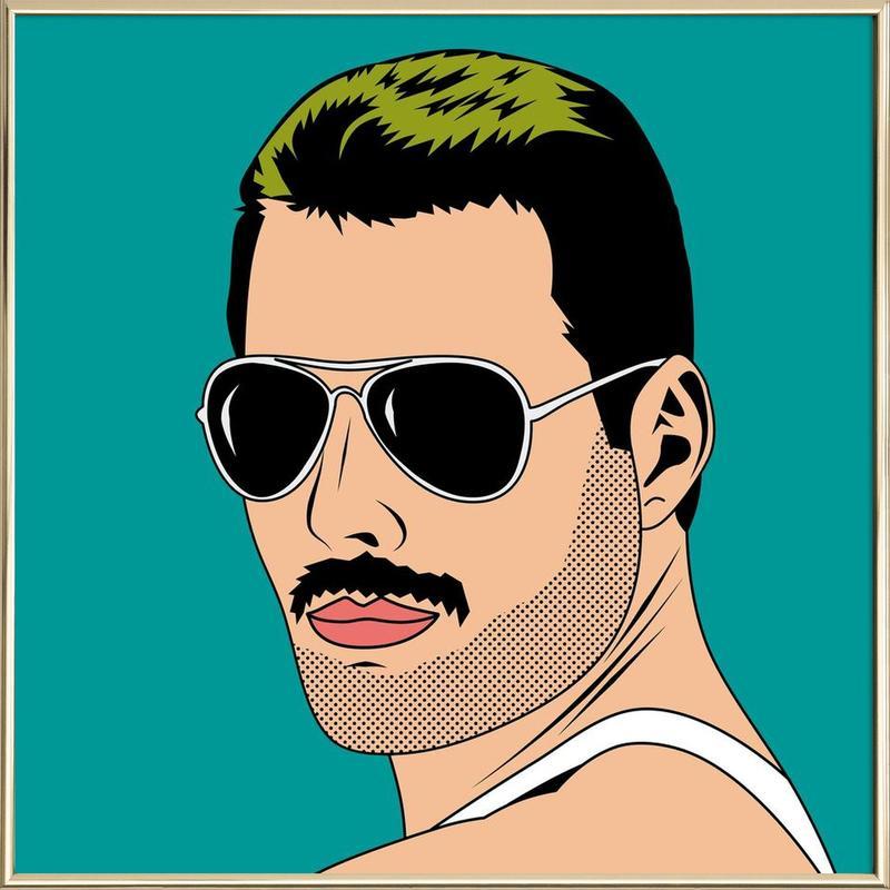 Freddie Mercury -Poster im Alurahmen