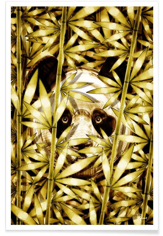 Feuilles & Plantes, Pandas, Panda Coco affiche