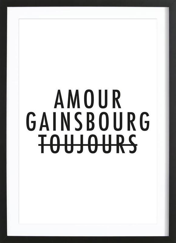Amour Gainsbourg Toujours I black on white Framed Print