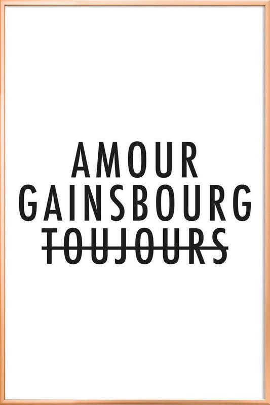 Amour Gainsbourg Toujours I black on white -Poster im Alurahmen