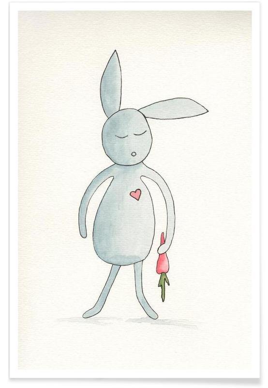 Kinderzimmer & Kunst für Kinder, Kaninchen, Herr Hase mit Herz und Möhre -Poster