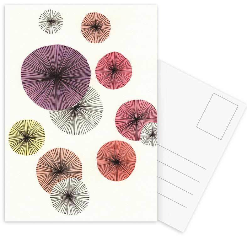 , Line Art Blossom violet Postcard Set