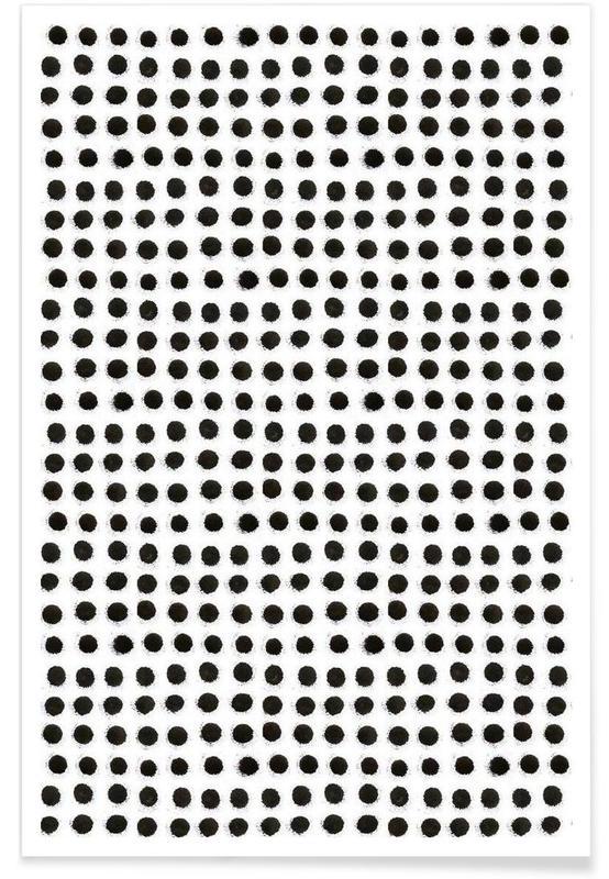 Black & White, Patterns, Ink Dots Poster