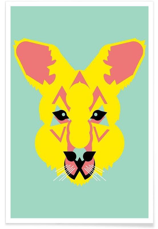 Art pour enfants, Kangourou - Abstrait affiche