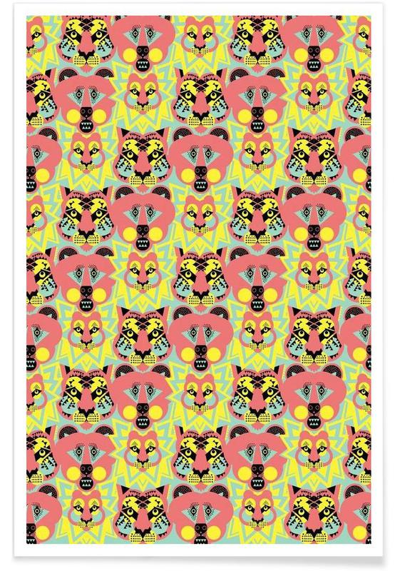 Abstract Lions Tigers Bears Poster