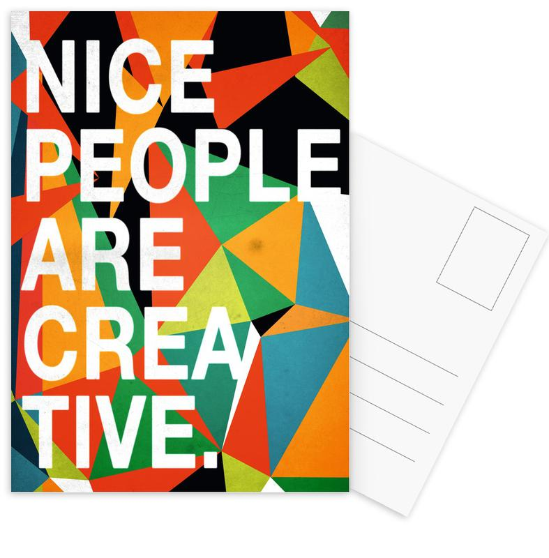 Quotes & Slogans, Nice people are Creative Postcard Set