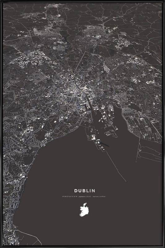 Dublin City Map Framed Poster
