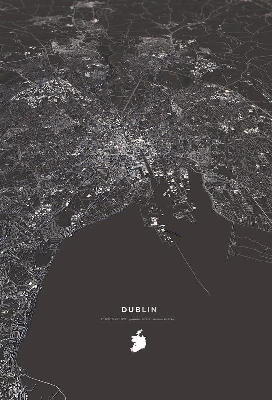 Dublin City Map -Alubild